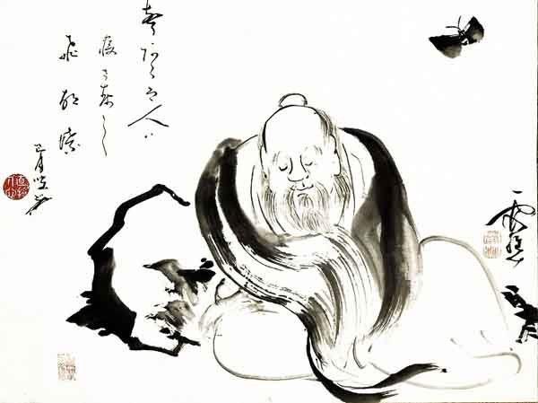 Chuang Tzu dreaming of a butterfly. Ink by Ike no Taiga, 18th Century.