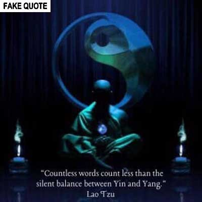 Fake Lao Tzu quote: Countless words count less than the silent balance between yin and yang.