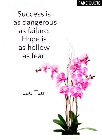 Fake Lao Tzu quote: Success is as dangerous as failure. Hope is as hollow as fear.