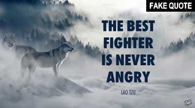 Fake Lao Tzu quote: The best fighter is never angry.